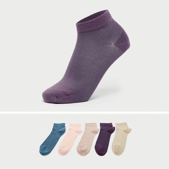 Pack of 5 - Solid Ankle Length Socks with Cuffed Hem