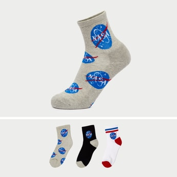 Pack of 3 - NASA Print Ankle-Length Socks with Cuffed Hem