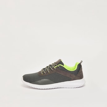 Textured Sports Shoes with Pull Tab and Lace-Up Closure