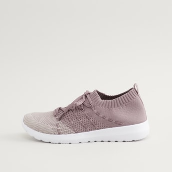 Textured Shoes with Lace-Up Closure and Pull Tab