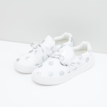 Printed Sneakers with Knot Applique