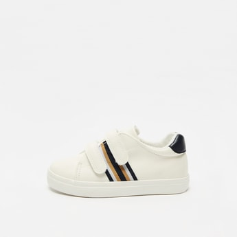 Striped Shoes with Hook and Loop Closure