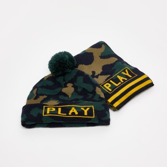 Set of 2 - Camouflage Print Beanie with Scarf