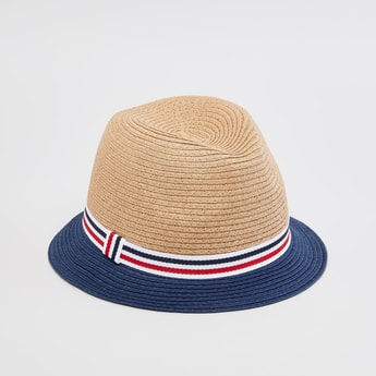 Textured Hat with Striped Tape Detail