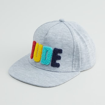 Text Applique Baseball Cap with Hook and Loop Closure