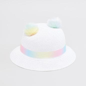 Textured Hat with Pom-Pom Detail