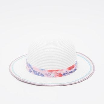 Floral Print Textured Hat