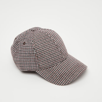 Houndstooth Print Cap with Eyelets