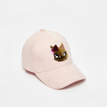 Textured Sequin Detail Cap with Hook and Loop Closure