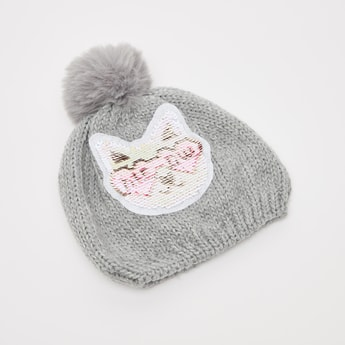 Sequin Detail Beanie Cap with Cuffed Hem
