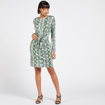 Animal Printed Mini A-line Dress with Long Sleeves and Knot Detail