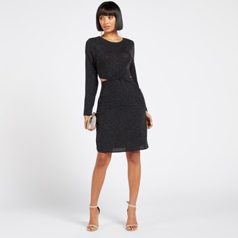Textured Midi Shift Dress with Round Neck and Long Sleeves