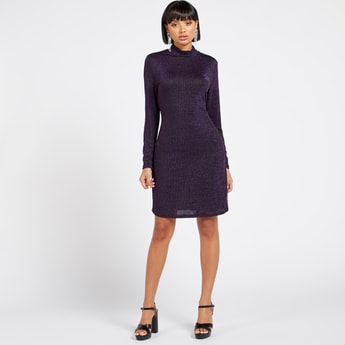 Ribbed Turtle Neck Shimmer Bodycon Dress with Long Sleeves