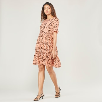 Printed Mini A-line Dress with Short Sleeves