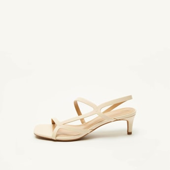 Solid Open-Toe Stilettos with Ankle Strap