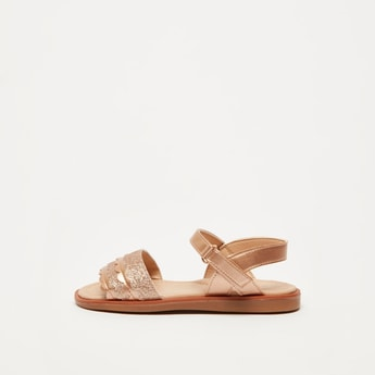 Glitter Accent Sandals with Ankle Strap