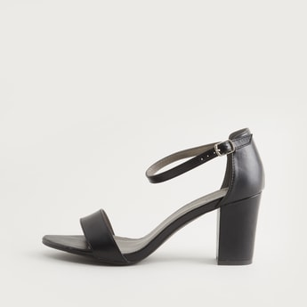 Solid Ankle Strap Block Heels