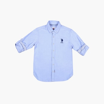 U.S. POLO ASSN. KIDS Solid Full Sleeves Casual Shirt