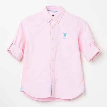 U.S. POLO ASSN. KIDS Solid Full Sleeves Shirt