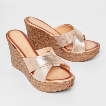 CATWALK Shimmery Textured Cross-Strap Wedges
