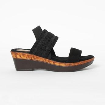 CATWALK Textured Slingback Platforms with Wedged Heels