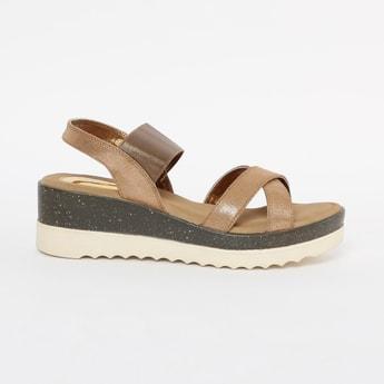 CATWALK Textured Slingback Platforms with Wedge Heels
