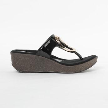 CATWALK Textured T-strap Platform With Wedge Heels