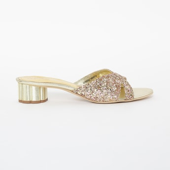 CATWALK Shimmery Block Heels with Criss-Cross Straps