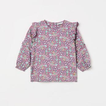 BOSSINI Floral Print Ruffled Detail Top