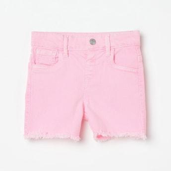 JUNIORS Stonewashed Frayed Hem Shorts