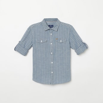 FAME FOREVER KIDS Roll-Up Sleeves Striped Slim Casual Shirt