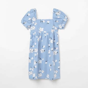 FAME FOREVER KIDS Floral Print Shift Dress with Square Neck