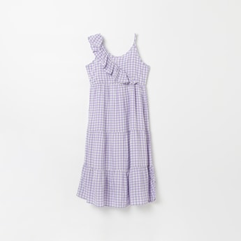 FAME FOREVER YOUNG Checked Tiered A-line Dress