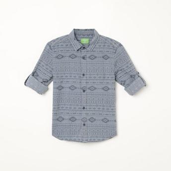 BOSSINI Printed Roll-Up Sleeves Shirt