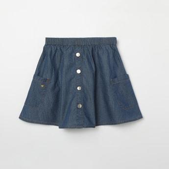 BOSSINI Solid A-line Denim Skirt