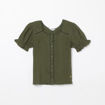 BOSSINI Dobby Weave Top with Lace Insets