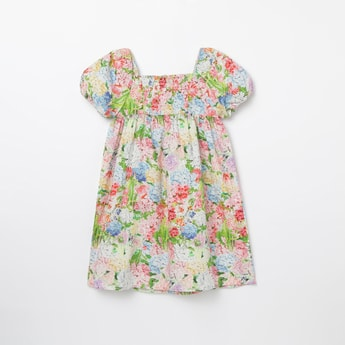 BOSSINI Floral Print Empire-Waist Dress with Puff Sleeves