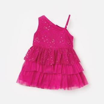 JUNIORS Floral Lace Sequinned Fit & Flare Dress