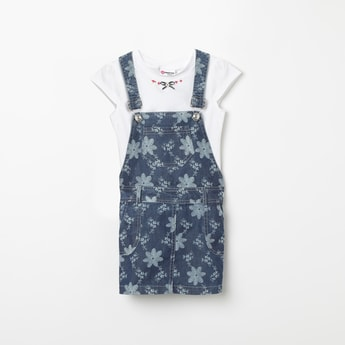 PEPPERMINT Floral Print Dungaree with Solid T-shirt
