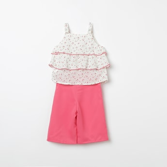 PEPPERMINT Solid Culottes with Floral Print Tiered Top