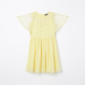 ALLEN SOLLY Sequinned Shift Dress with Net Cape Sleeves