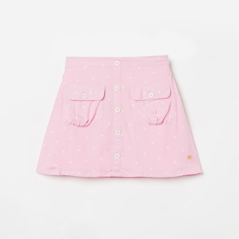BOSSINI Girls Printed Button-Down A-line Skirt