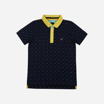 ALLEN SOLLY Printed Polo T-shirt with Contrast Collar