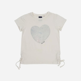 ALLEN SOLLY Heart Print Cap Sleeves T-shirt