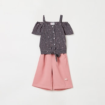 PEPPERMINT Girls Striped Cold-Shoulder Top with Culottes