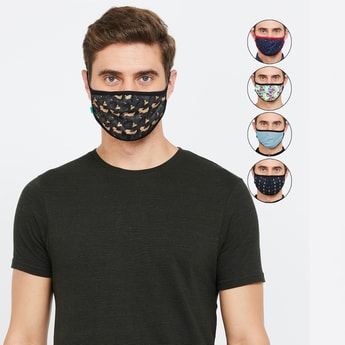 UNITED COLORS OF BENETTON Men Printed 3-Layer Mask- Pack of 5