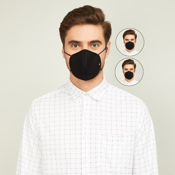 LOUIS PHILIPPE Men Solid 3-Layered Reusable Face Masks - Pack of 2