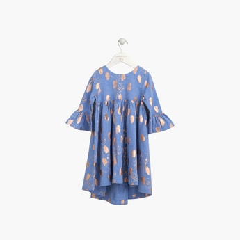 ANGEL & ROCKET Girls Floral Print Shift Dress with Bell Sleeves