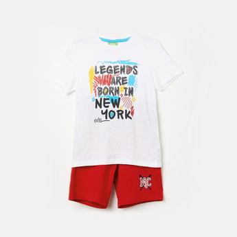 BOSSINI Boys Printed Crew Neck T-shirt with Shorts