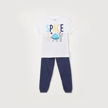 FAME FOREVER KIDS Boys Printed Crew Neck T-shirt with Joggers